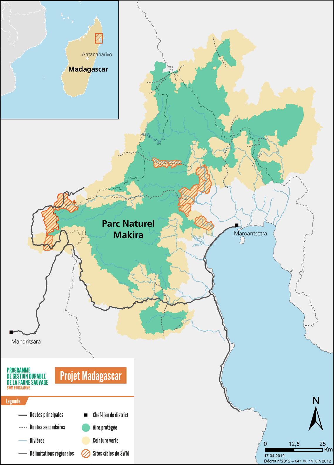 Map of the SWM  activities in Madagascar